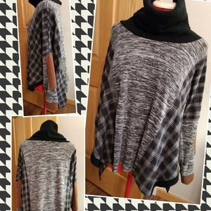 THML loose artsy top M check marled charcoal
